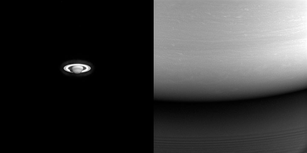 A Cassini űrszonda egyik első és egyik utolsó képe a Szaturnuszról. A kép forrása: saturn.jpl.nasa.gov