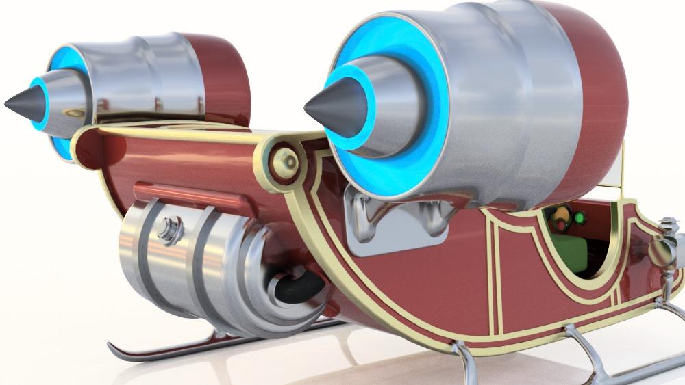 A rakétameghajtású szán ötletét hamar elvetették a kutatók. Egyrészt nem képes elérni a megfelelő sebességet, másrészt túl nagy lenne a szükséges üzemanyag tömege. a kép forrása: autodesk.com