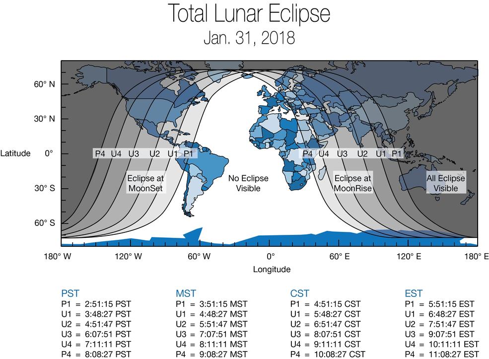 Térkép, mely megmutatja, mikor és hol lesz látható a holdfogyatkozás. Forrás: NASA