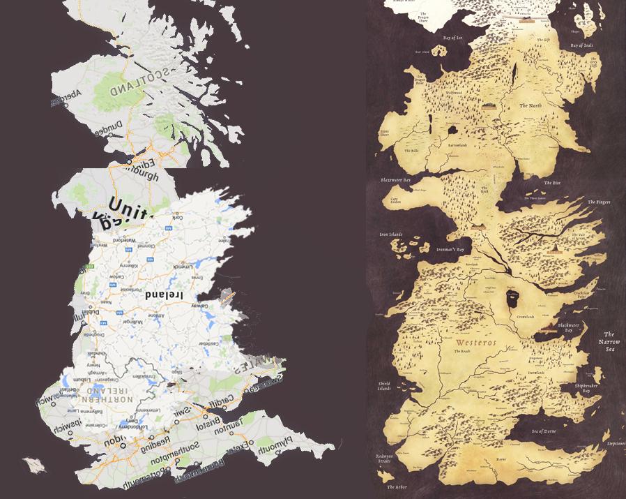 Nagy- Britannia vízszintesen tükrözött képe, mellette Westeros, a fantasy kontinense