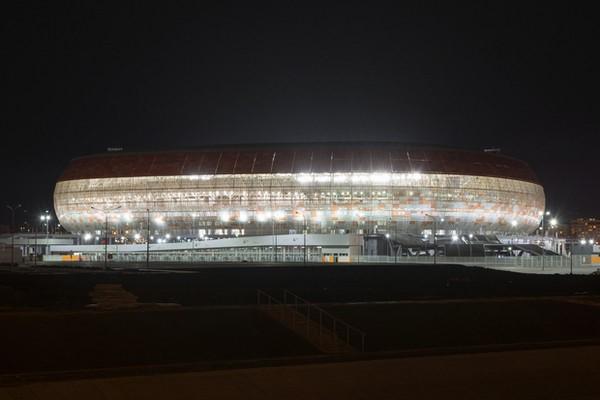 A szaranszki stadion felső karéját a torna után lebontják, így figyelve a 100 %-os kihasználtságra! Kép: Google