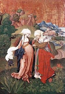 M. S. mester Vizitáció című festménye (Mária és Erzsébet találkozása), 1500 körül, forrás: wikipedia.org
