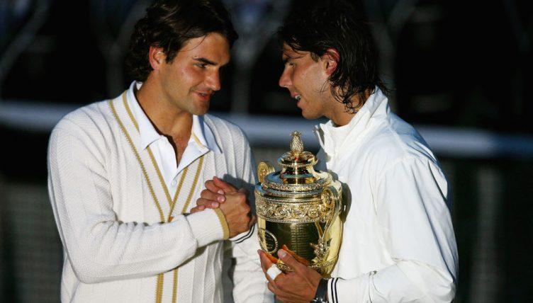 Federer és Nadal a 2008-as wimbledoni díjátadón