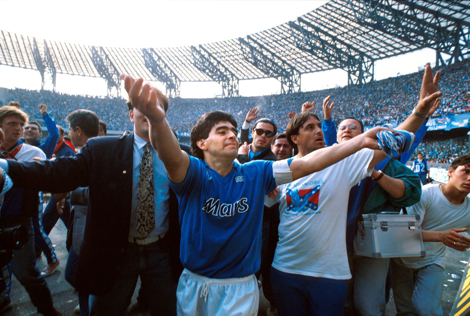 Napoli's Diego Maradona celebrates after winning the championship