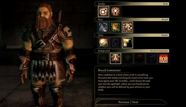 dragon age origins - character creation (dwarf commoner male)