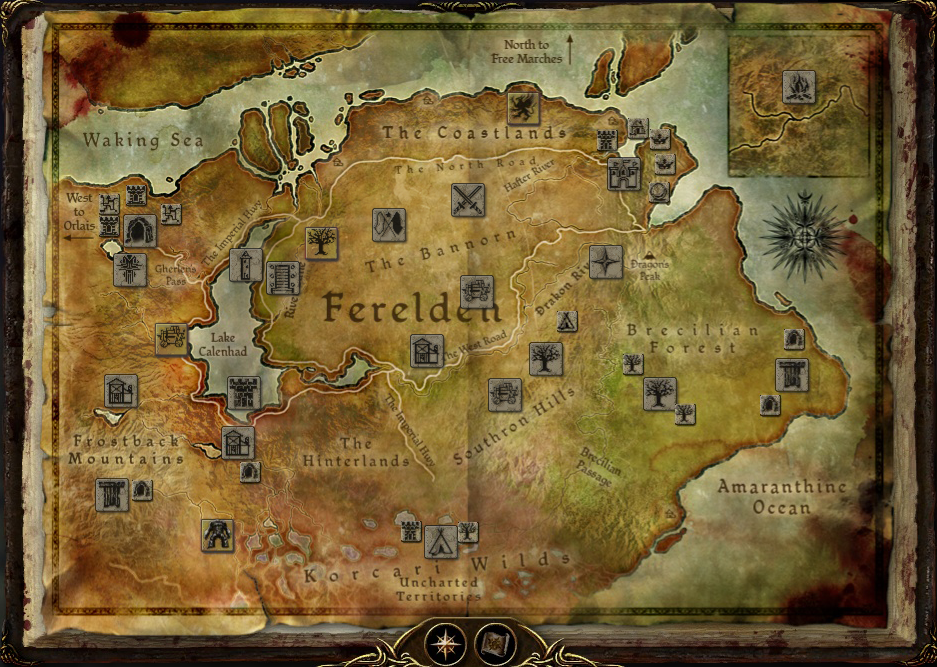dragon age origins - map of ferelden