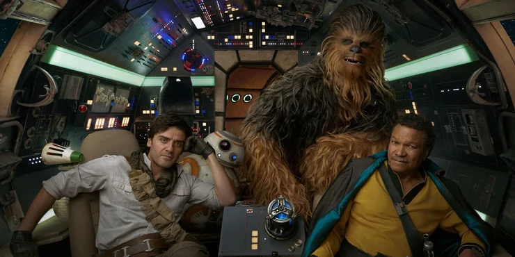 SW IX RoS - Lando, Chewie and Poe in the Falcon - PNG