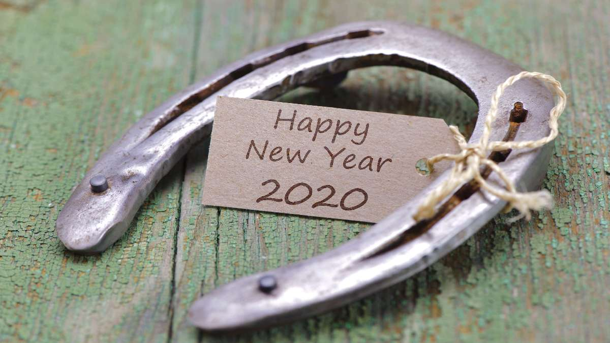 Happy new year 2020 with rusty horse shoe